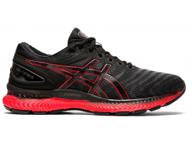 ASICS GEL Nimbus 22 Men's Running Shoes - BLACK / CLASSIC RED