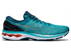 ASICS GEL Kayano 27 Women's Running Shoes - TECHNO CYAN / SUNRISE RED
