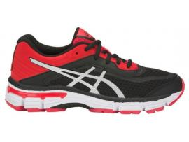 ASICS GT 2000 6 GS Boy's Running Shoes - BLACK / SILVER / FIERY RED