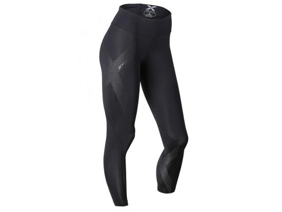 2XU Women's Mid-Rise Compression Tights - Black / Dotted Reflective, WA2864B